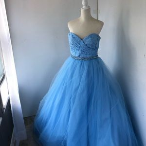 Dresses & Skirts - Light Blue Lace, tulle, Rhinestone ballgown
